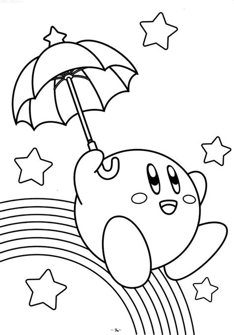 kirby mario coloring pages umbrella coloring pages of kirby video game coloring
