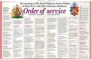 Wedding Blessing Order Of Service Template by Royal Wedding Order Of Service Princess Diana Funeral