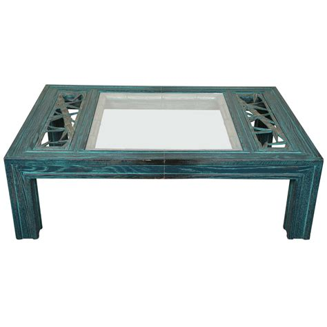 beautiful oak coffee table with bamboo carving and glass