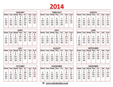 printable 2014 calendar calendardate co uk
