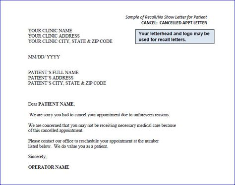 cancellation letter from doctor sle recall letters