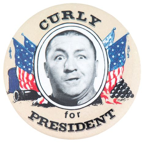 Three Buttons item detail three stooges curly for president 1984