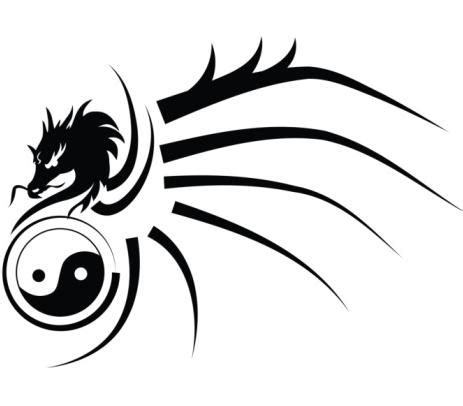 tribal dragon and yin yang tattoo design