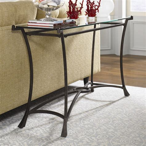 Contemporary Metal Sofa Table with Glass Top by Hammary   Wolf and Gardiner Wolf Furniture