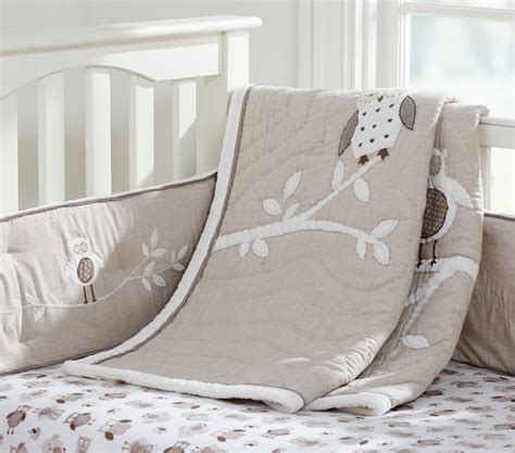 owl crib bedding unisex hadley owl baby bedding set pottery barn