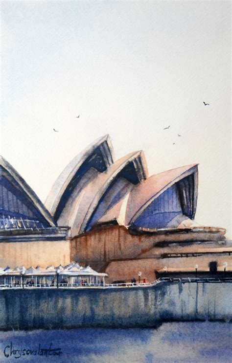 sydney house painters sydney opera house painting chrysovalantou mavroudis watercolour artist