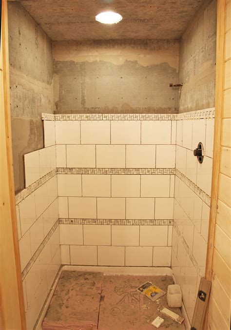 part tiled bathroom our basment part 29 shower tile stately kitsch