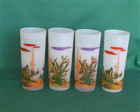1950s Gas Station Giveaways - blakely gas and oil cactus frosted glass tumblers set of 8 vintage service station