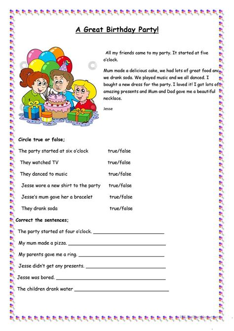 printable birthday activity sheets a great birthday party worksheet free esl printable