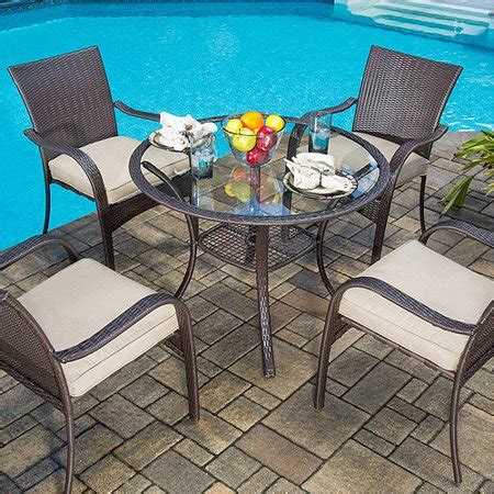 walmart patio dining sets mainstays wicker 5 patio dining set seats 4