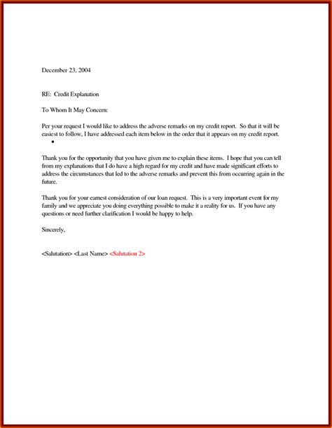 Sle Letter Of Explanation For Bad Credit 5 Letter Of Explanation Sle Mac Resume Template