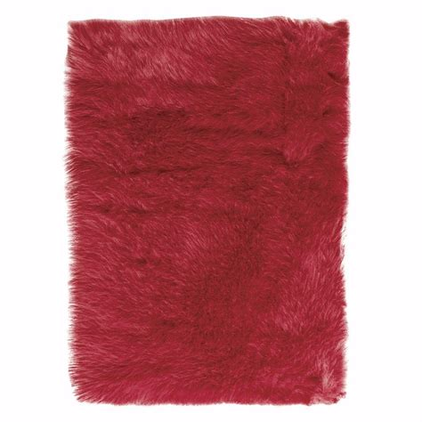 Home Decorators Collection Faux Sheepskin Red 11 Ft X 16 Faux Sheepskin Area Rug