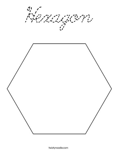 Hexagon Coloring Page Cursive Twisty Noodle Hexagon Coloring Page