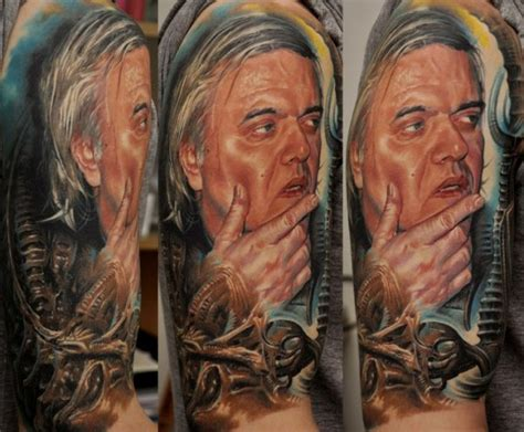 biomechanical portrait tattoo biomechanical 3d portrait tattoo on half sleeve