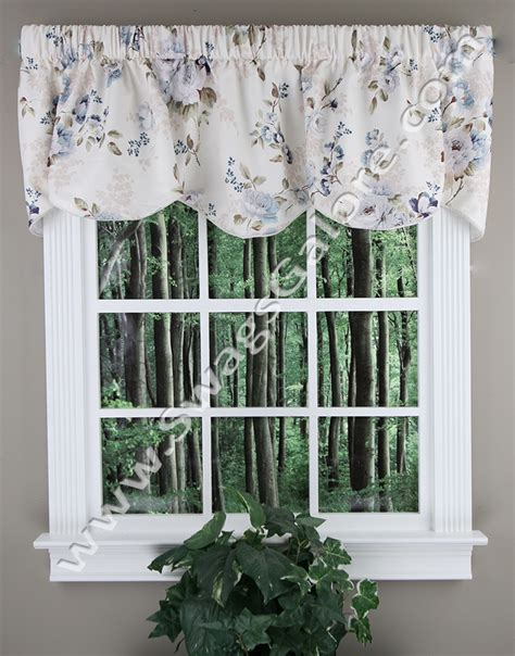 Blue And Brown Kitchen Curtains Chatsworth Lined Scalloped Valance Blue Ellis Kitchen Valances