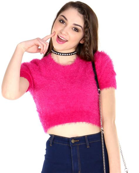 MINI PINK FUZZY CROP TOP from Shop Jeen tops