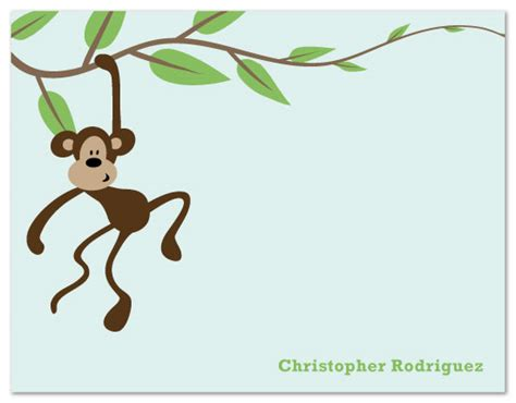 monkey swinging on a vine personal stationery monkey swinging on vine at minted com