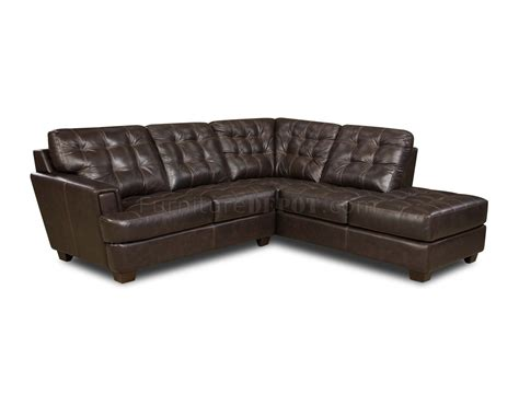 Brown Tufted Top Grain Italian Leather Modern Sectional Sofa Tufted Leather Sectional Sofa