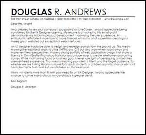 Ui Designer Cover Letter by Ux Designer Cover Letter Sle Livecareer