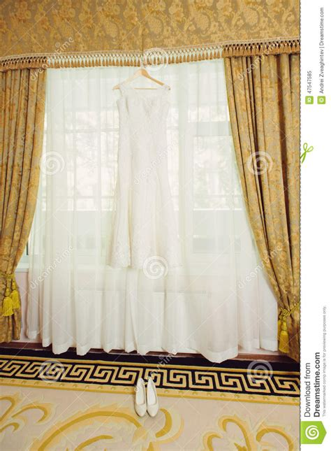 dress curtains wedding dress on curtain stock image image of decoration