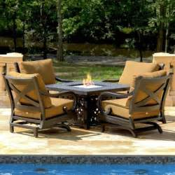 Patio Furniture Fire Pit Table Set by Top Rated Conversation Patio Sets With Fire Pit Tables