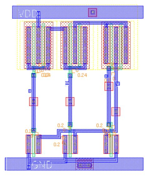layout for nand fig 4 2 input nor layout