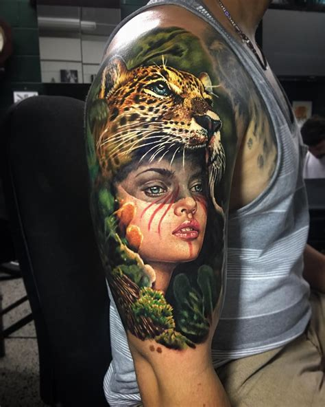 3d tattoo artists new zealand perfect color tattoo art of wild girl motive done by