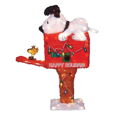 new in box christmas holiday peanuts animated mailbox