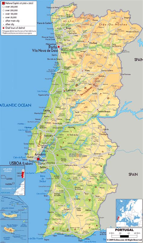large map of large physical map of portugal with roads cities and