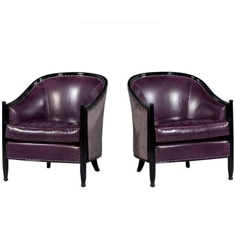 Purple Leather Armchair Pair Of Deco Lounge Chairs In Purple Leather For