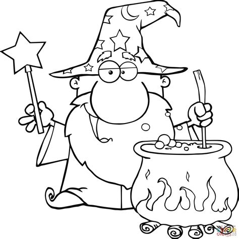 Wizard Coloring Pages Wizard Waving With Magic Wand And Preparing A Potion by Wizard Coloring Pages
