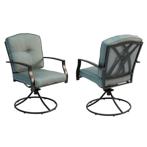 Patio Chairs Swivel Shop Garden Treasures Set Of 2 Cascade Creek Black Seat Steel Swivel Patio Dining Chair At Lowes