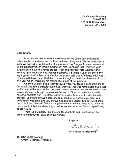 exles of testimonial letters for real estate