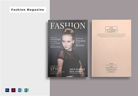 magazine cover template publisher 28 pages fashion magazine template in psd word publisher