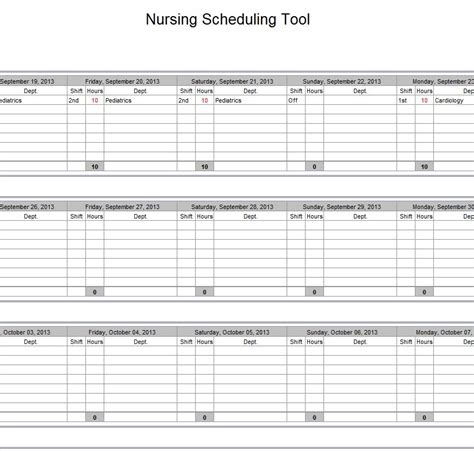 Nursing Templates by Hospital Schedule Excel Template Schedule