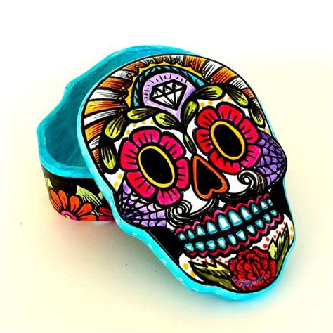 ceramic sugar skull box home decor day of the dead flowers