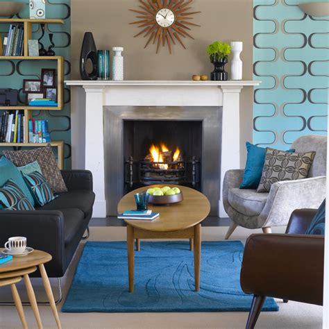blue and brown home decor retro living room living room design decorating ideas
