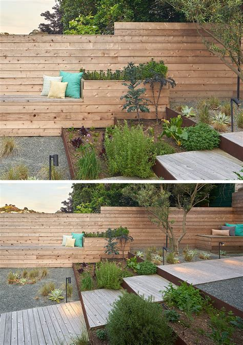 planters with bench seating 12 ideas for including built in wood planters in your outdoor space contemporist