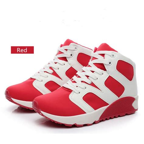 wedge athletic shoes womens high top athletic shoes pu running wedge sneakers