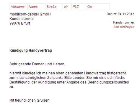 Musterbrief Kündigung Handyvertrag Mobilcom Mobilcom Debitel K 252 Ndigung Vorlage Chip