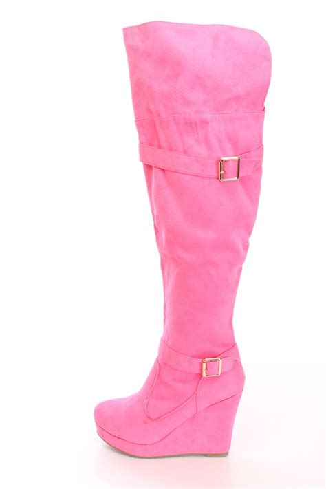 pink print knee high wedge boots faux suede