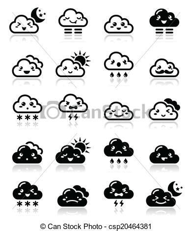 imagenes kawai en blanco y negro vecteur de mignon noir kawaii ic manga nuage