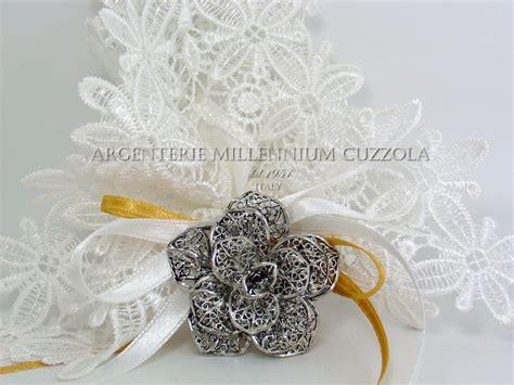 bomboniera fiore spilla filigrana fiore argento bomboniere comunione