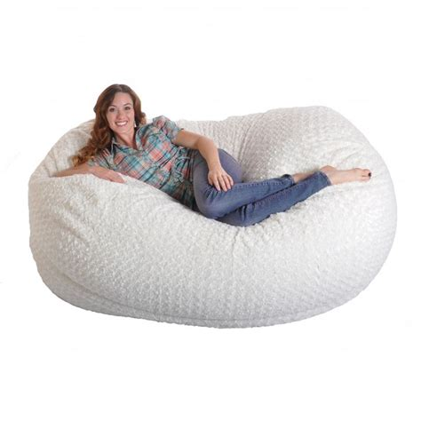 big white fluffy bean bag 6 foot soft white fur large oval microfiber memory foam