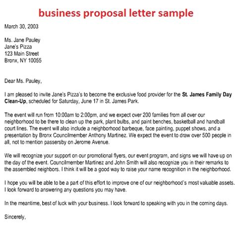 Sample Email Cover Letter For Business Proposal