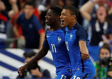 ousmane dembele and kylian mbappe ousmane dembele decides thriller in paris as 10 man france