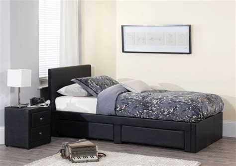 black single bed with drawers buy serene latino black faux leather storage bed 3ft