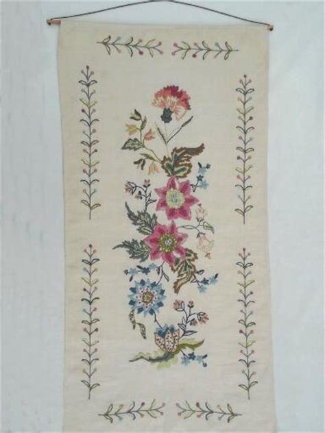 wool crewelwork embroidery vintage crewel embroidered