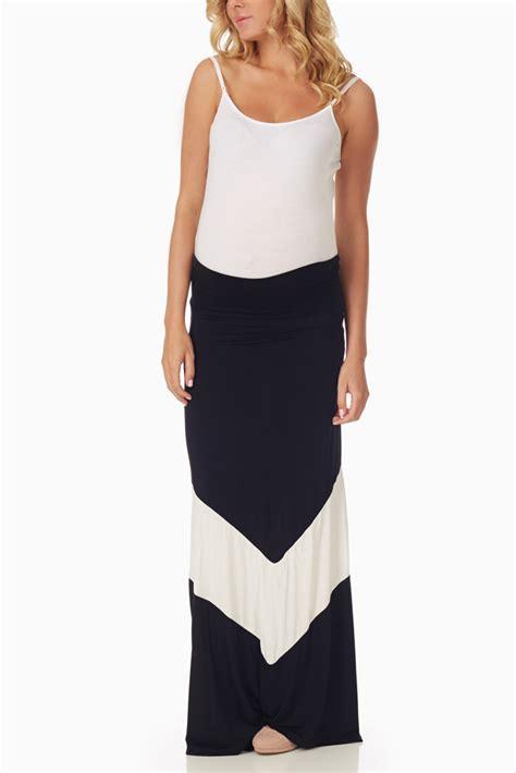 black white chevron colorblock maternity maxi skirt