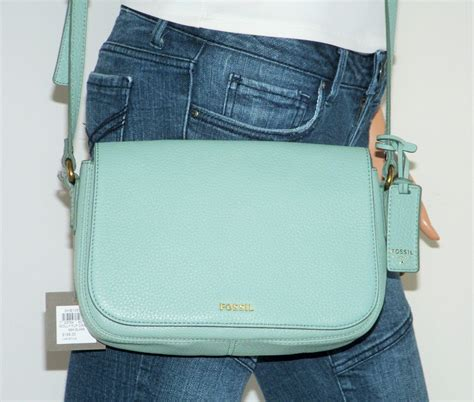 Fossil Molly Satchel 3 nwt fossil molly sea glass mint green leather flap